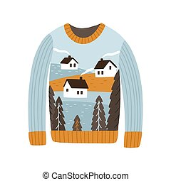 Cozy handmade Christmas sweater vector flat illustration. Colorful festive jumper with winter village image isolated on white background. Xmas holiday season pullover design