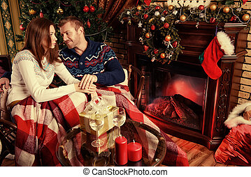 cozy happiness - Happy married couple spend a romantic...