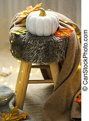 Cozy home interior with autumn decorations