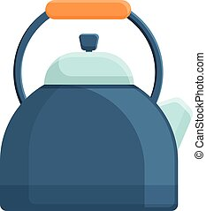 Cozy home kettle icon, cartoon style