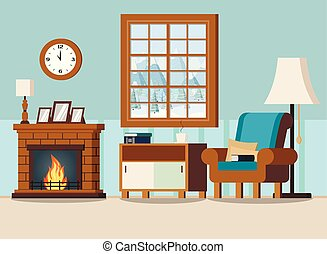 Cozy home living room interior background with fireplace, lamps, armchair, pillows, wall clock, books, cup, rack, window with winter landscape in cartoon flat style. Vector illustration.