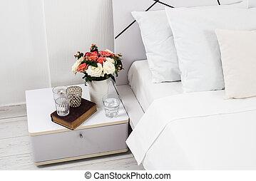 cozy home white bedroom - Interior of white bedroom, new ...