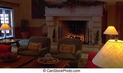 cozy hotel lobby with fireplace