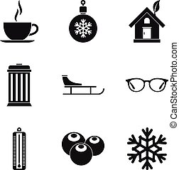 Cozy house icons set, simple style - Cozy house icons set....