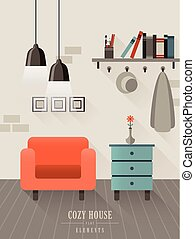 cozy house interior in flat design style - cozy house...