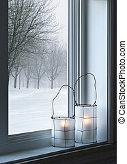 cozy, janela, lanternas, através, visto, paisagem, inverno