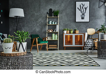 cozy, kamer, met, planten