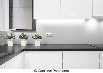 Cozy kitchen interior in modern detached house