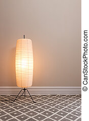 Cozy lamp in an empty room, with copy space.