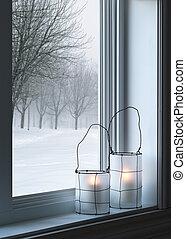cozy, laternen, und, winterlandschaft, gesehen, durch, der,...