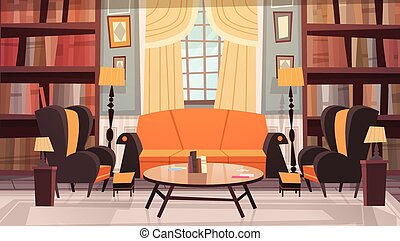 Cozy Living Room Interior Design With Furniture, Sofa, Table Armchairs And Bookcase