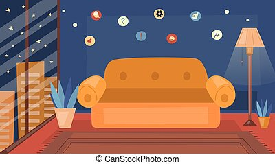 Cozy Living Room Interior With Furniture And Big Window With Cityscape View. Caroon Flat Style. Vector Illustration