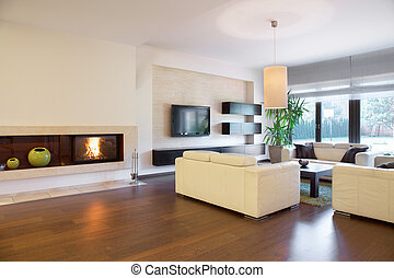 Cozy living room - Spacious cozy living room with lighted ...