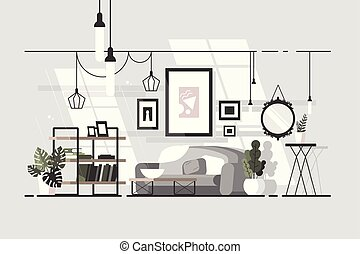 Cozy living room. Stylish interior with sofa. Vector...