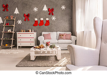 Cozy living room with christmas design - Cozy spacious white...