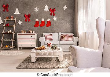 Cozy living room with christmas design - Cozy spacious white...