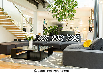 Cozy living room with sofa set