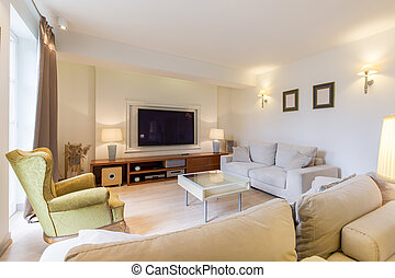 Cozy living room with TV - Open and cozy living room with a...