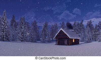 Cozy log cabin in mountains at snowy winter night
