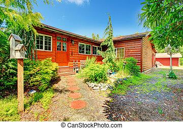 Cozy log cabin style house exterio