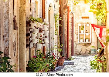 Cozy narrow street in the village of Pano Lefkara. Larnaca District, Cyprus