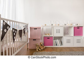 Cozy nursery for little girl - Cozy white and rose nursery...