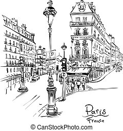 Cozy Paris street, France - Vector black and white hand ...