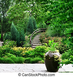 Park with beautiful avenues, flowerbeds and shrubs
