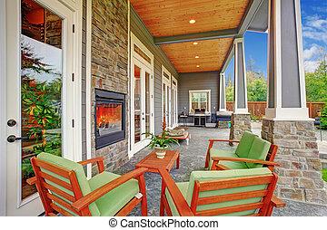 cozy, quintal, com, lareira, em, luxo, casa