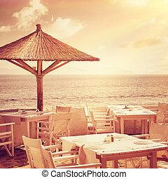Cozy restaurant on the beach