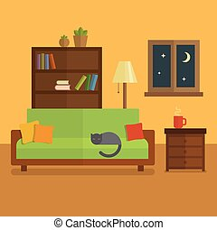 Cozy room interior flat illustration. Bookcase with books and plants, cat sleeping on a green sofa, cup of tea on the table