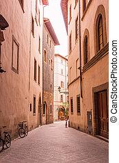 cozy, rua estreita, em, florença, tuscany, itália