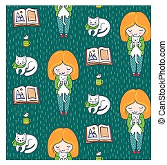 Cozy seamless patterns with ginger girls and cats on a green background.