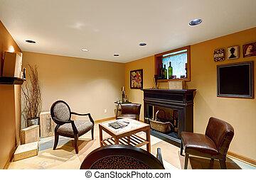 Cozy sitting area in basement room