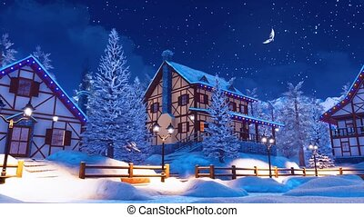 Cozy snow covered mountain village at winter night