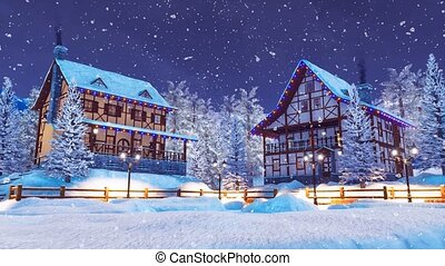 Cozy snow covered village at snowfall winter night - Cozy...