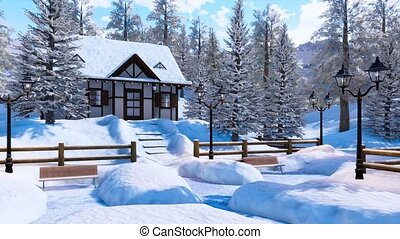 Cozy snowbound half-timbered alpine rural house among snow covered fir trees high in snowy mountains at frosty winter day. With no people 3D animation for Xmas or New Year holidays.