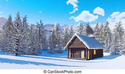 Cozy snowbound mountain cabin at clear winter day - Cozy...