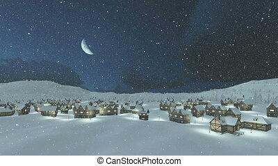 Cozy snowbound township at snowfall