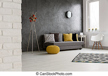 Cozy spacious living room - Spacious cozy grey living room...
