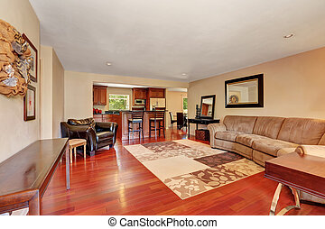 Cozy Spacious living room with cherrywood floor.