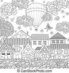 cozy town with hot air balloon in the sky for your coloring book