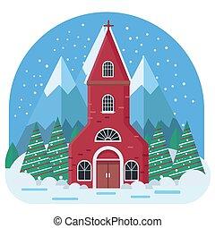 Cozy Winter Church Illustration