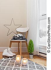 Cozy winter composition in a room