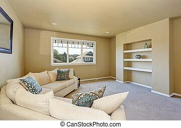 Cozy, Wohnzimmer, Mit, Groß, Beige, Ecke, Sofa, Set.