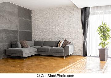 cozy, wohnzimmer, mit, sofa