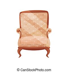 Cozy wooden armchair for living room. Comfortable chair with soft beige trim. Classic furniture. Flat vector icon