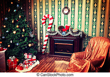 cozy xmas - Christmas home decoration with tree, gifts and...