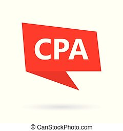 CPA (Certified Public Accountant) acronym on a speach bubble