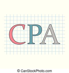 CPA (Certified Public Accountant) acronym on checkered paper sheet